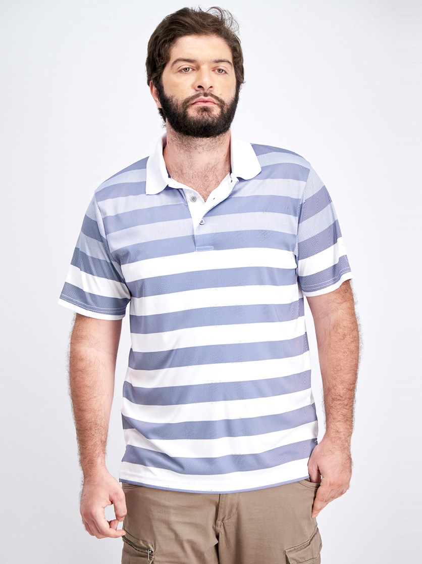 Men's Short Sleeve Stripe Polo, Bright White Combo