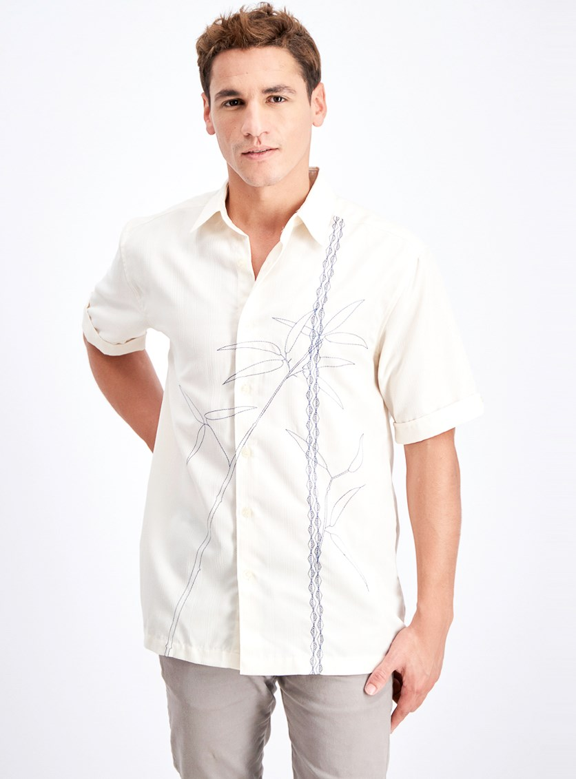Men's Textured Asymmetrical Bamboo Embroidery Shirt, Egret