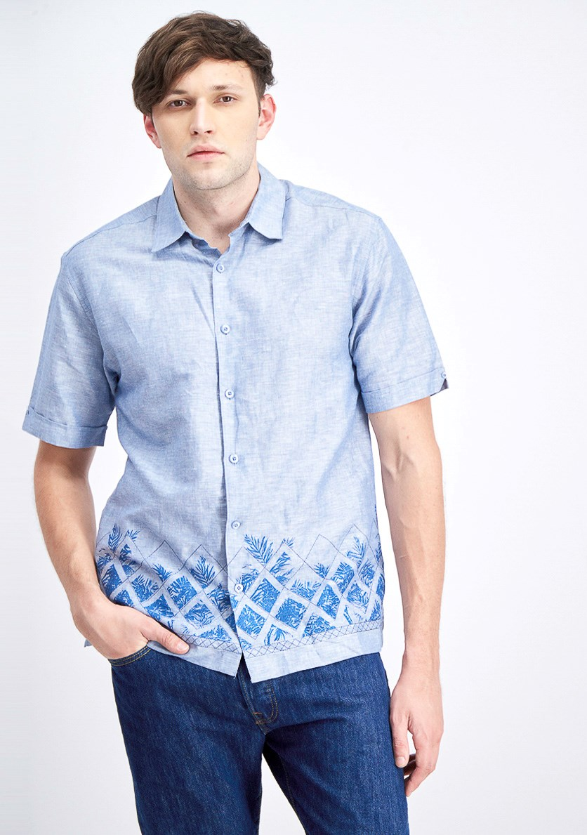 Men's Leafy Palms Lattice Border Print Embroidery Shirt, Blue