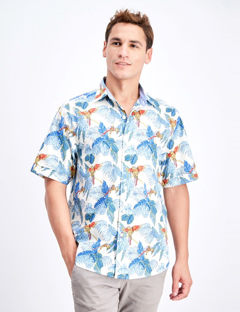 Men's Parrot Fronds Shirt, Coconut Cream