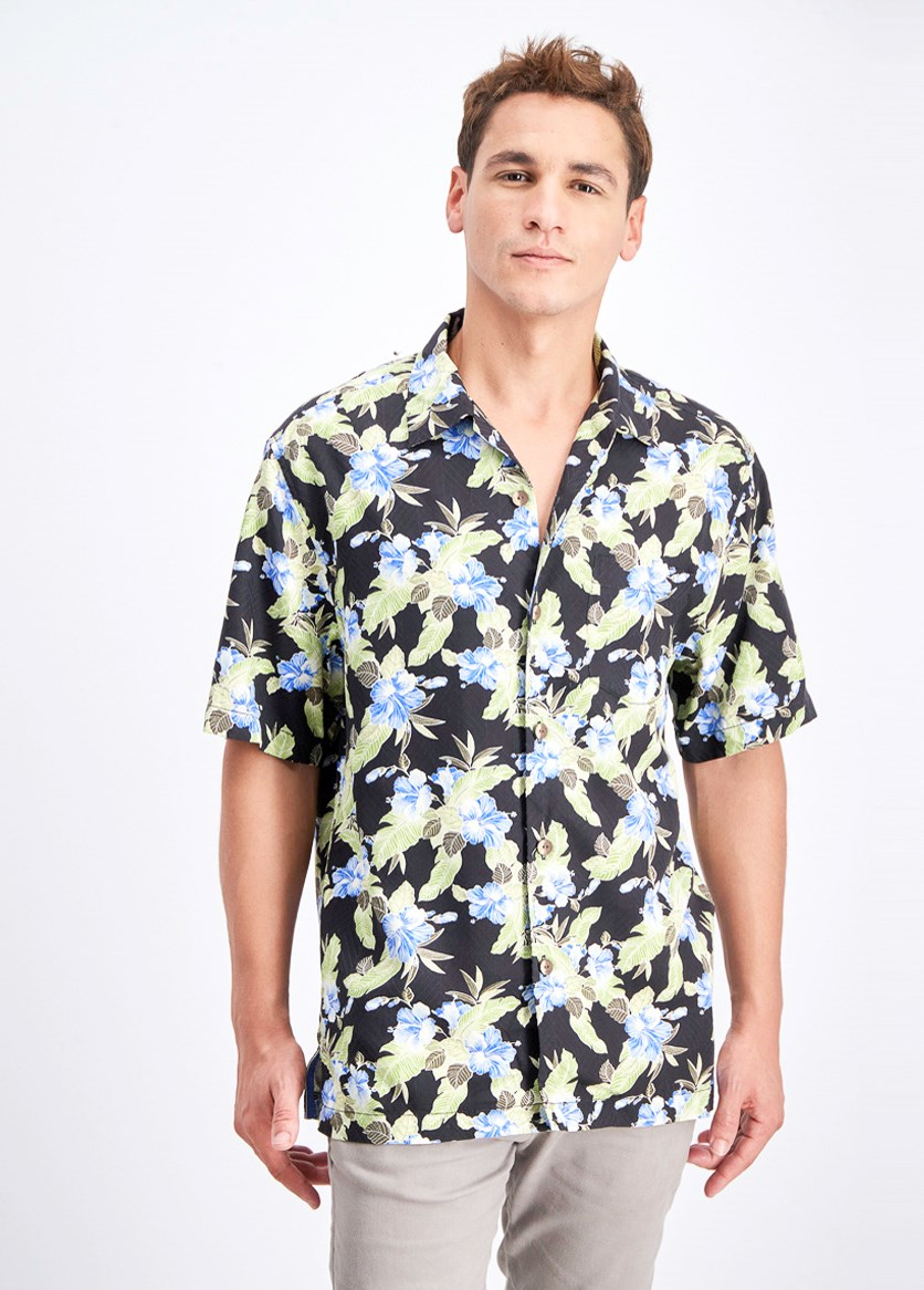 Men's Floral Pacific Paradise Hawaiian Shirt, Black Combo