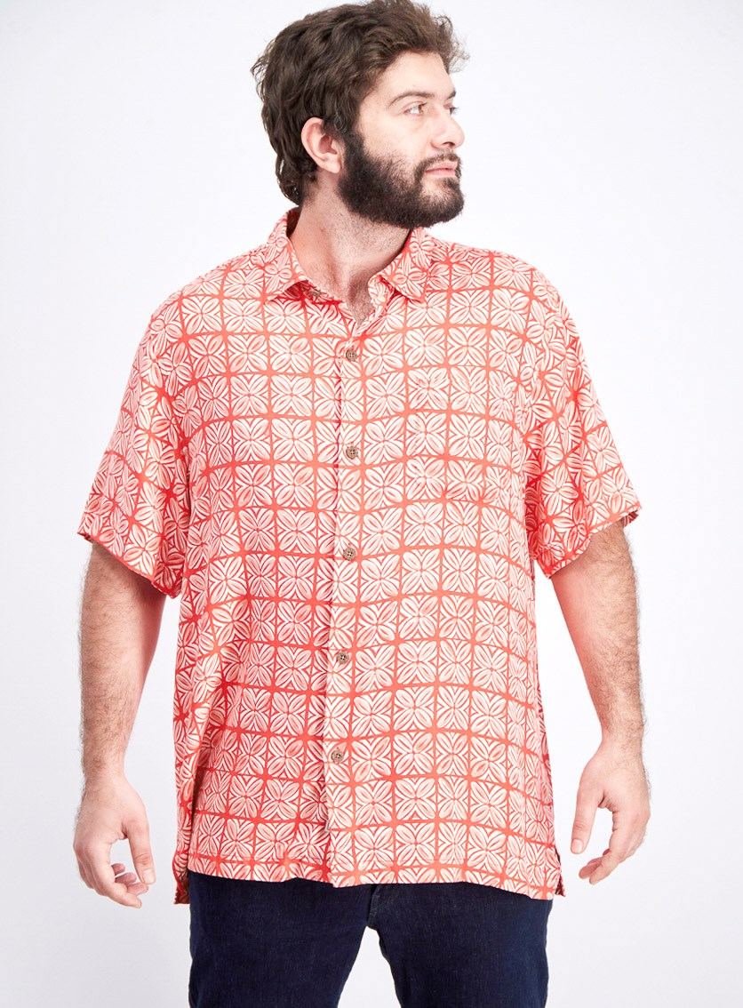 Men's Tonal Geo-Print Silk Camp Shirt, Bright Coral