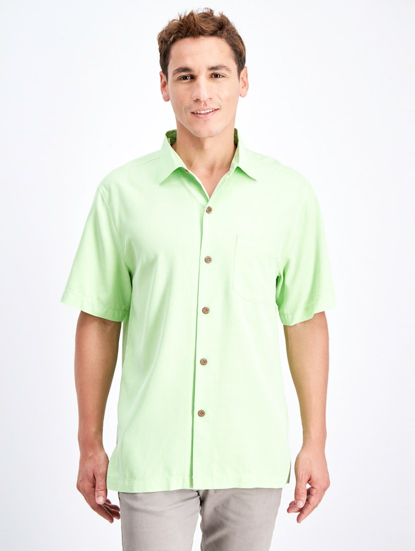 Men's Micro Diamond Short Sleeve Shirt, Glowing Green