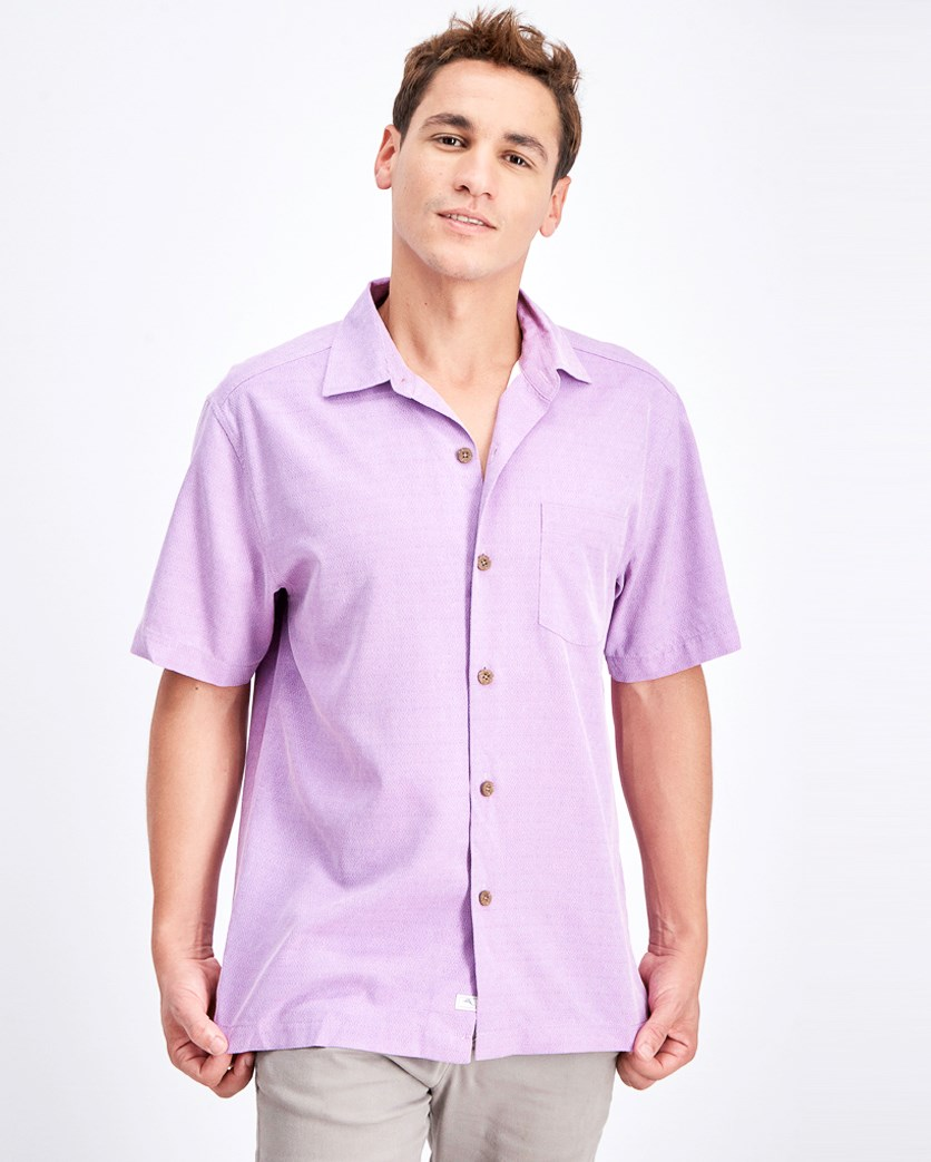 Men's Micro Diamond Short Sleeve Shirt, Summer Plum