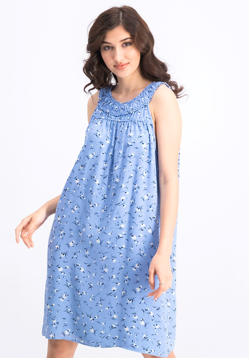 Women's Flower Dance Sleeveless Shift Dress, Blue Haze