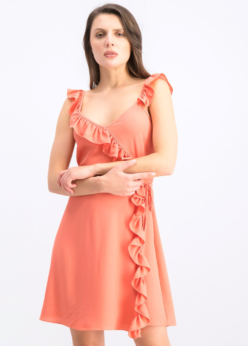 Wrap Front Ruffled Edge Dress, Orange