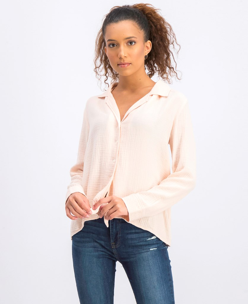 Button-Up Tie-Front Shirt, Pink Bluh