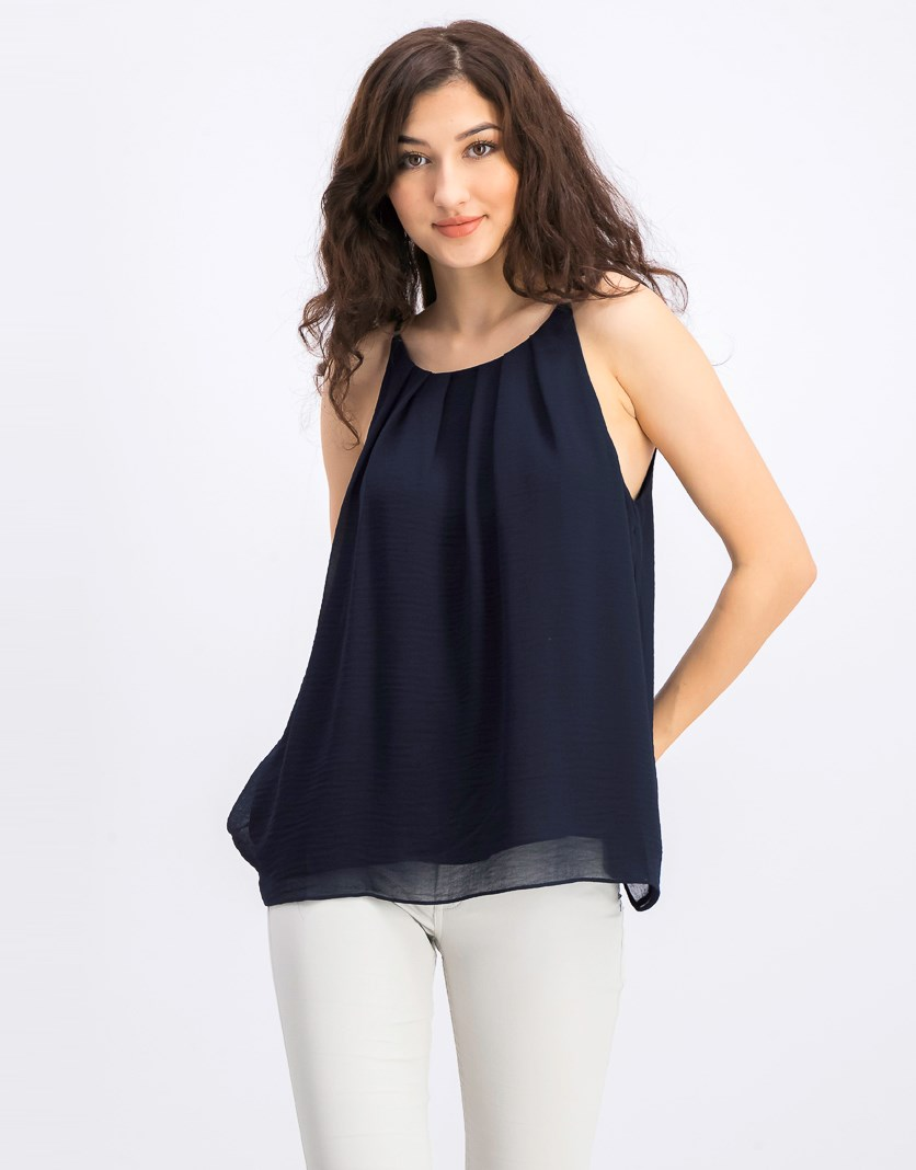 Women's Sleeveless Chiffon Blouse, Navy