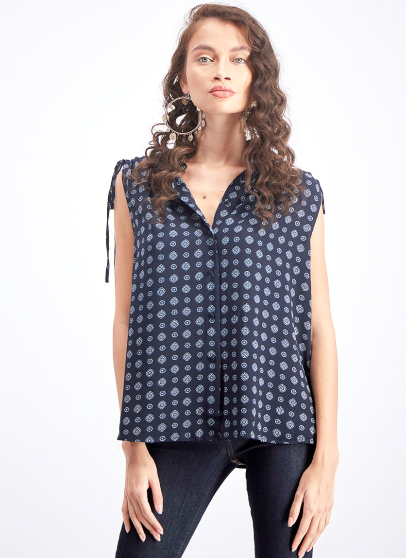 Women's Sleeveless Blouse, Navy Blue/White
