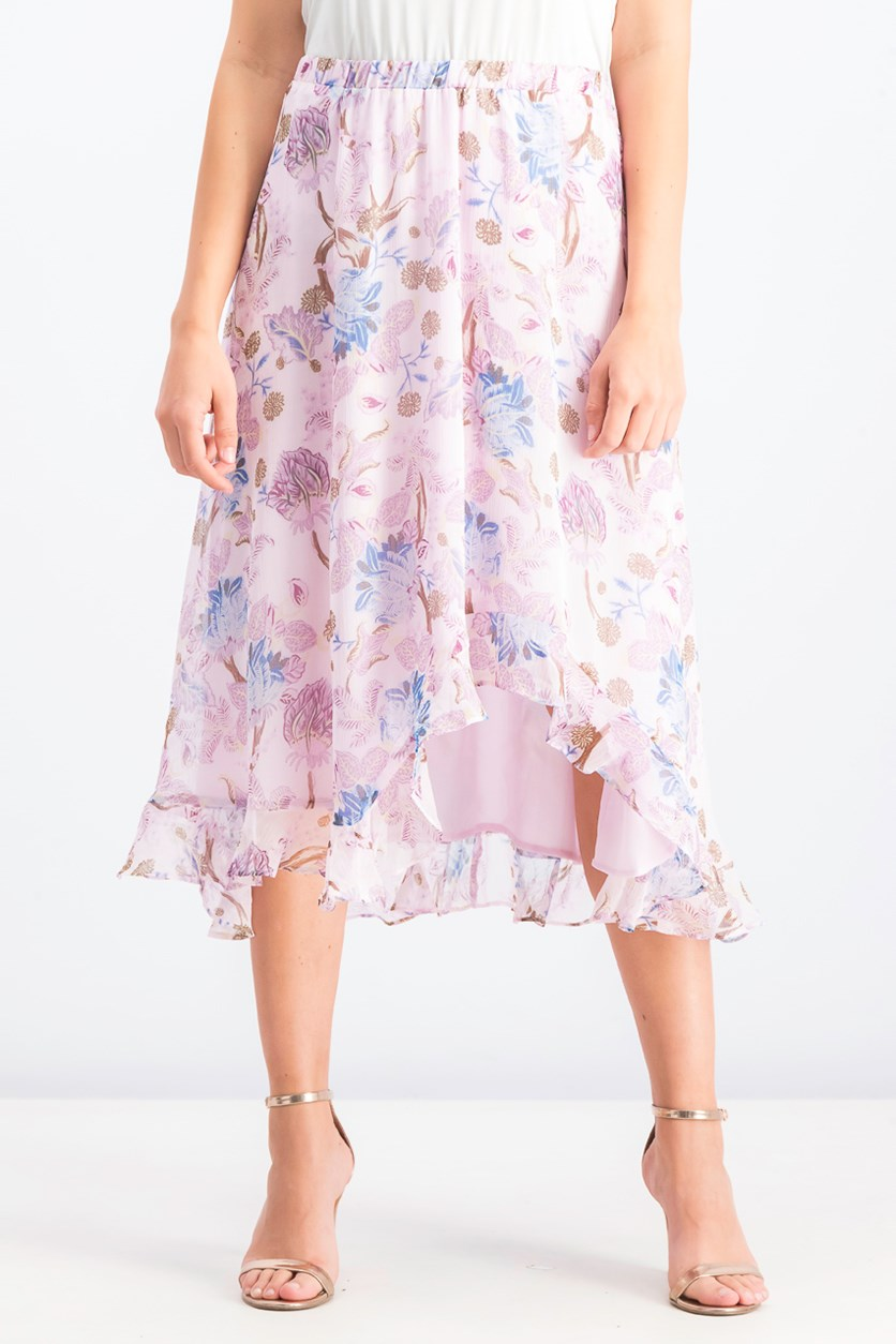 Women's Printed Ruffled Skirt, Soft Pink
