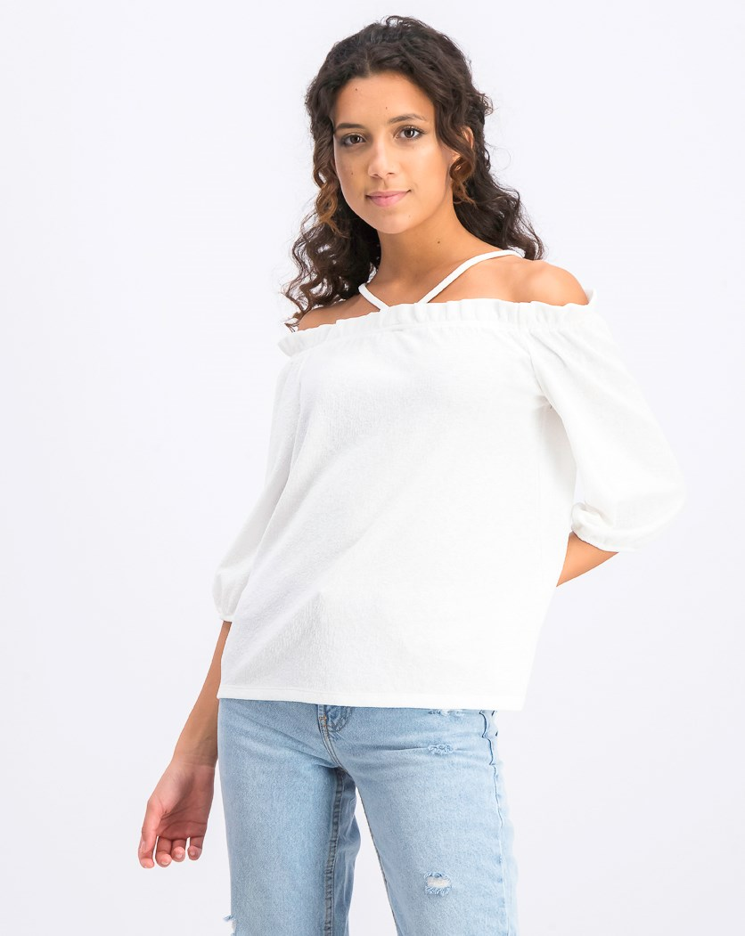 Women's Tie-Back Off-The-Shoulder Top, New Ivory