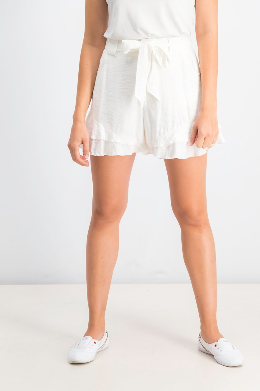 Ruffled Tie-Front Belted Shorts, White