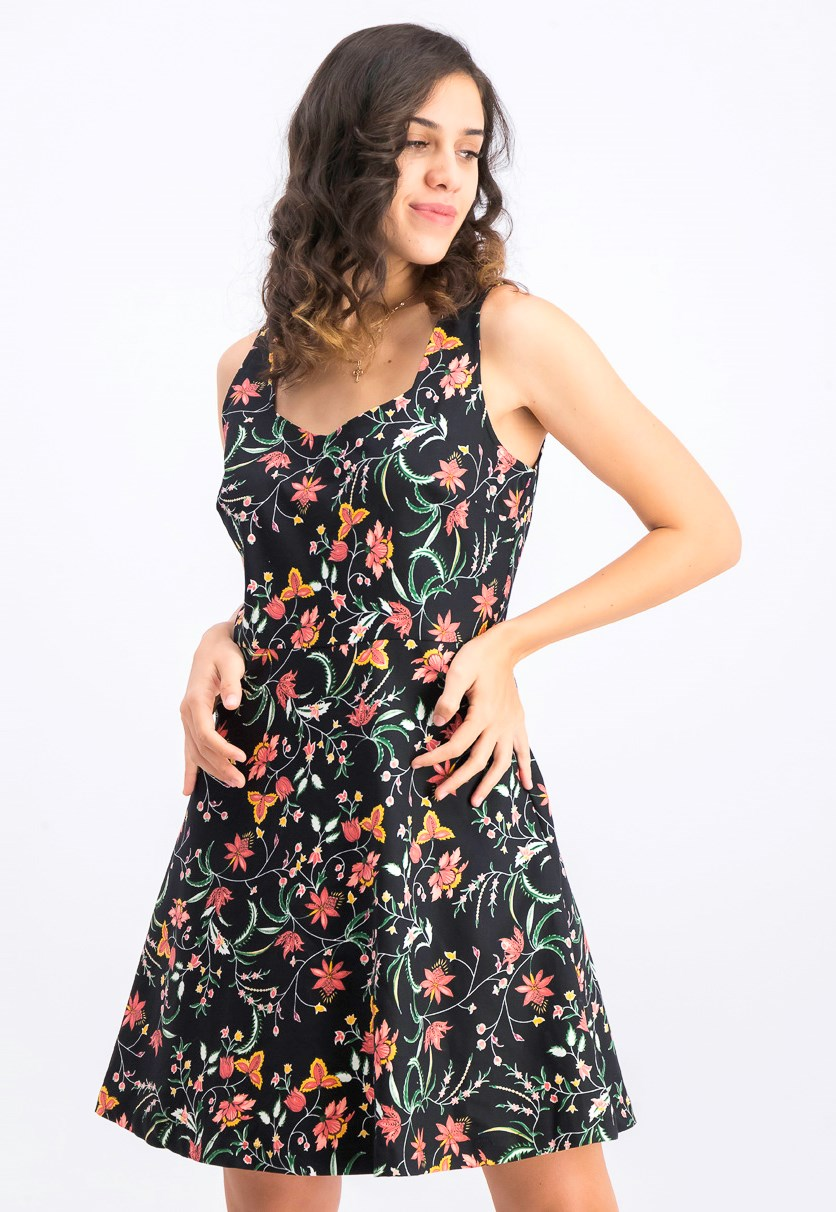 Women's Floral-Print Dress, Black Combo