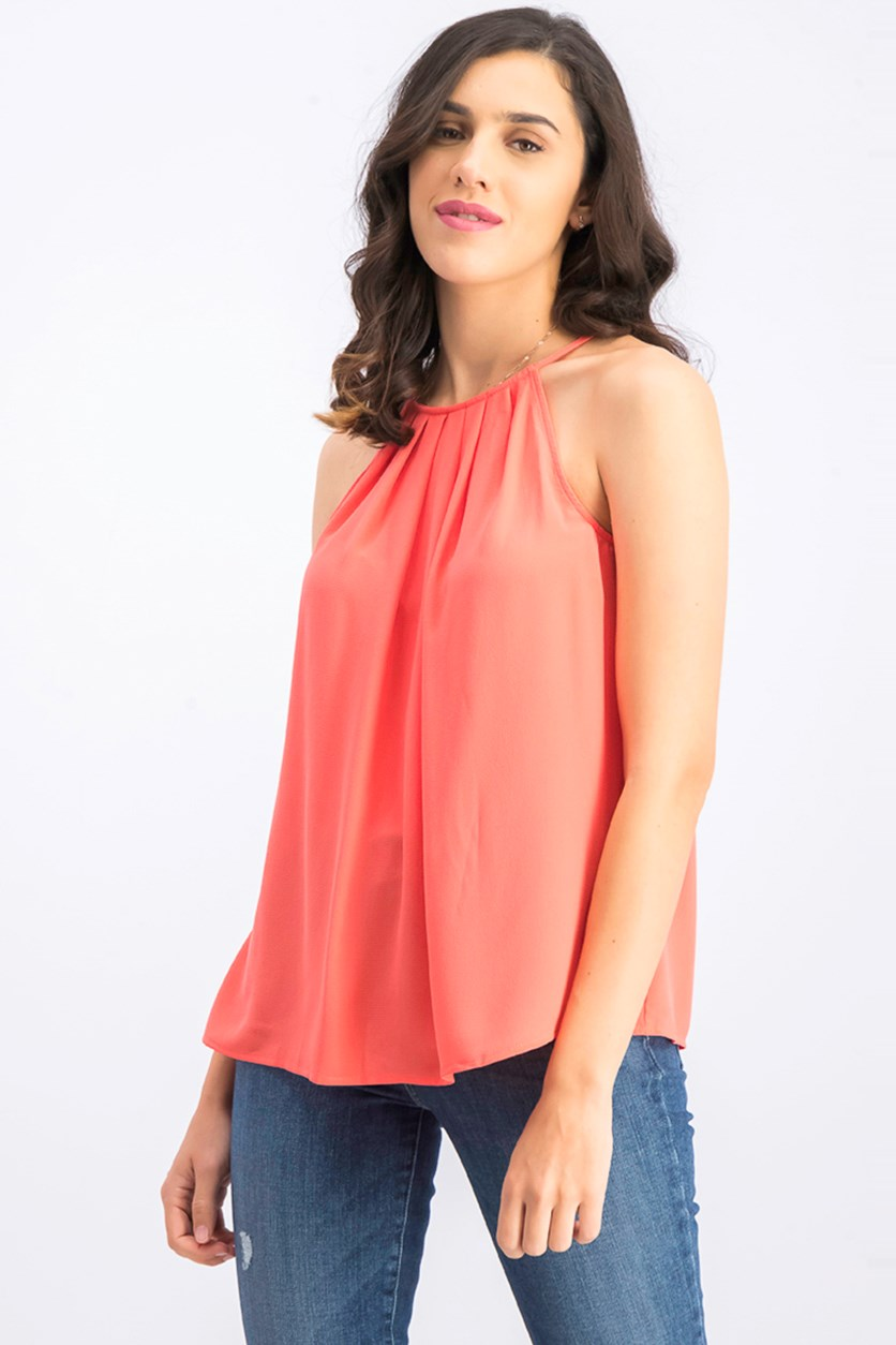 Womens Pleated High-Neck Top, Bay Coral