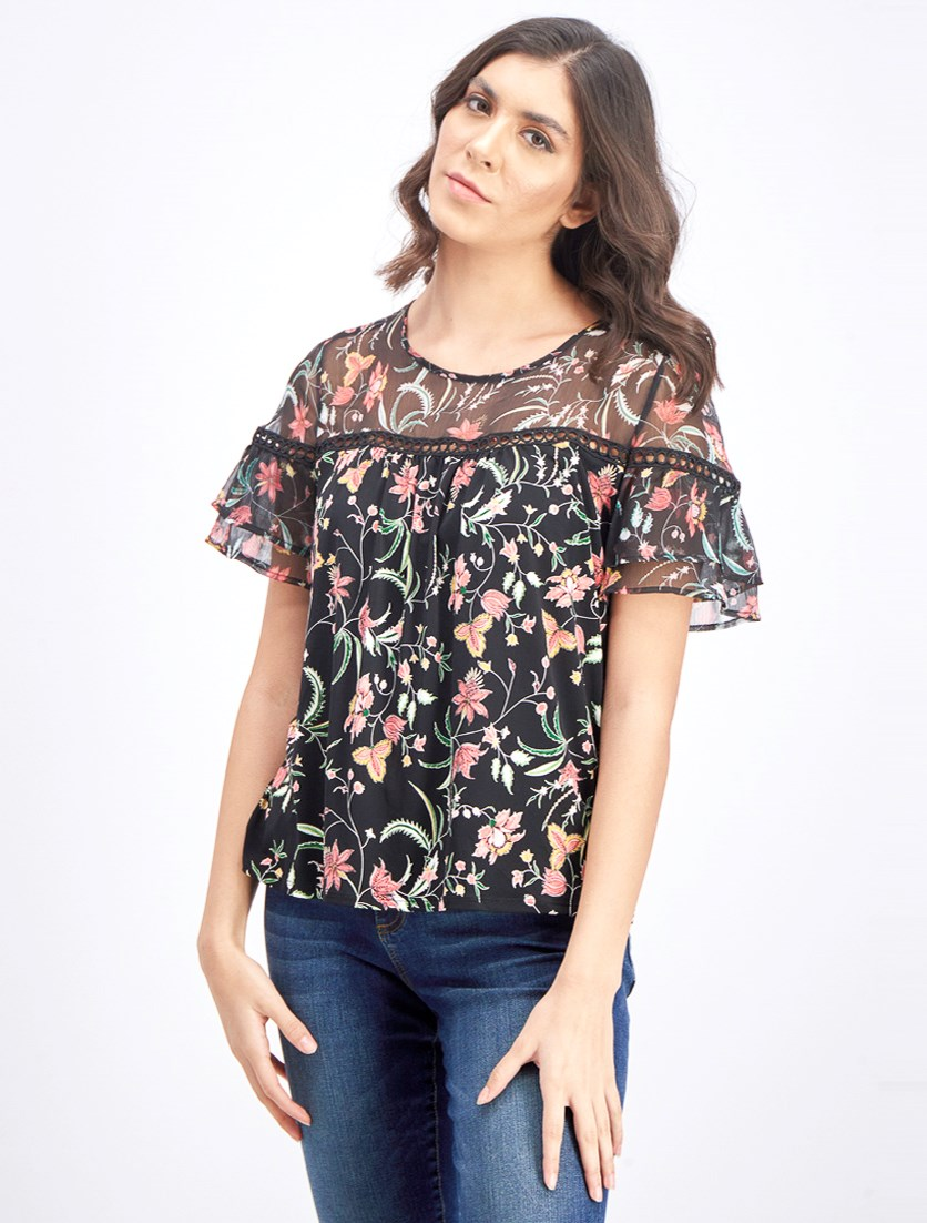 Women's Printed Blouse, Black Combo