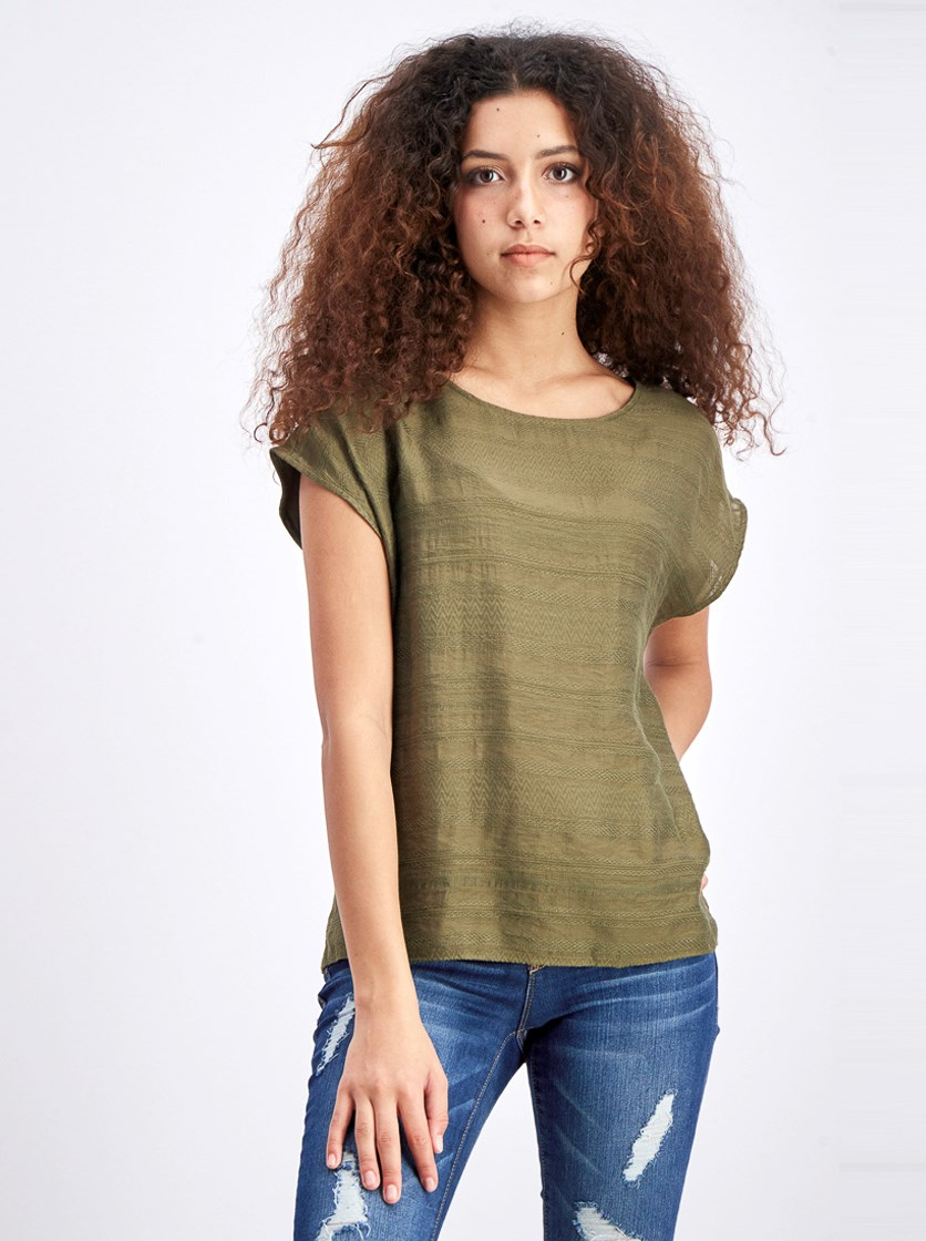 Women's Textured Tops, Olive