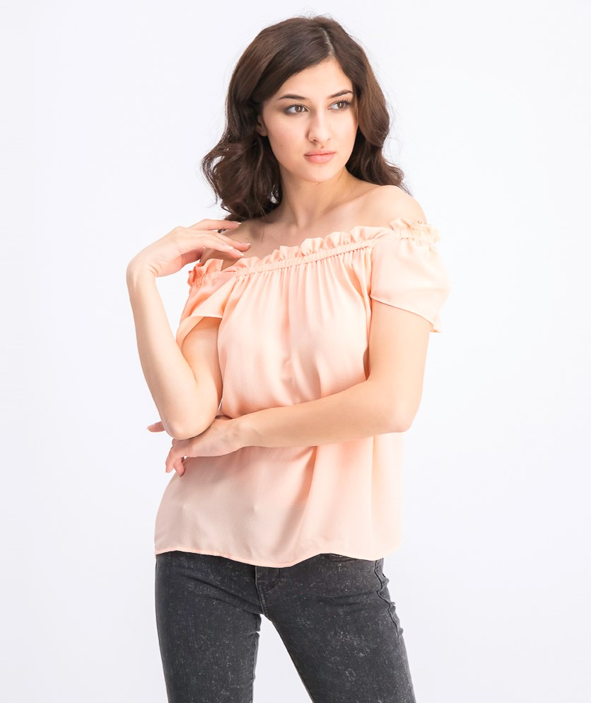 Women's Off Shoulder Tops, Peach
