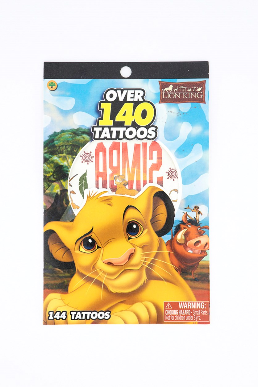 Lion King 4 Sheet Tattoo Book, Mustard/Light Blue Combo