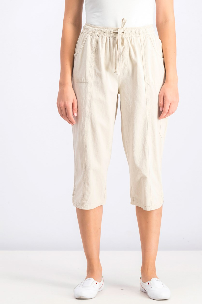 Womens Cotton Cropped Pants, Stone Wall
