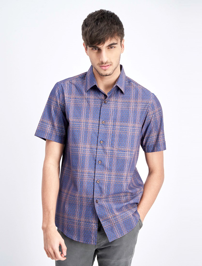Men's Foulard Plaid Shirt, Navy Combo