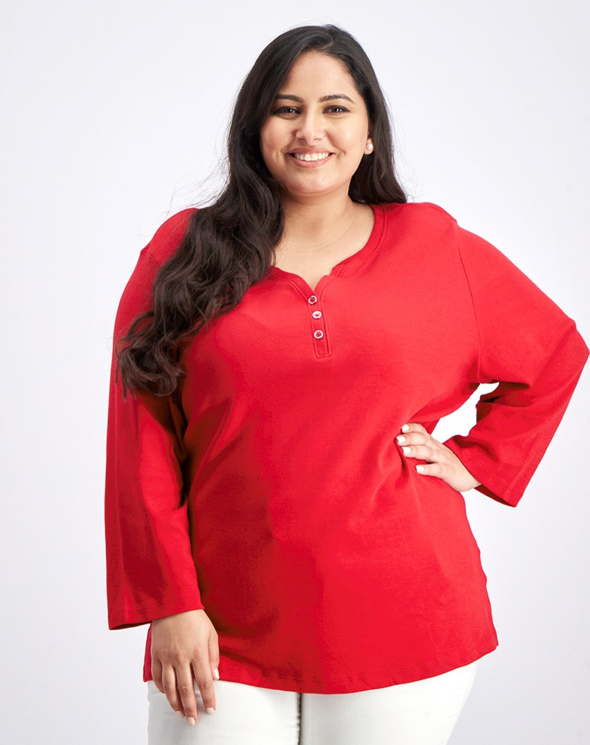 Plus Size Cotton Henley Top, Red Amore