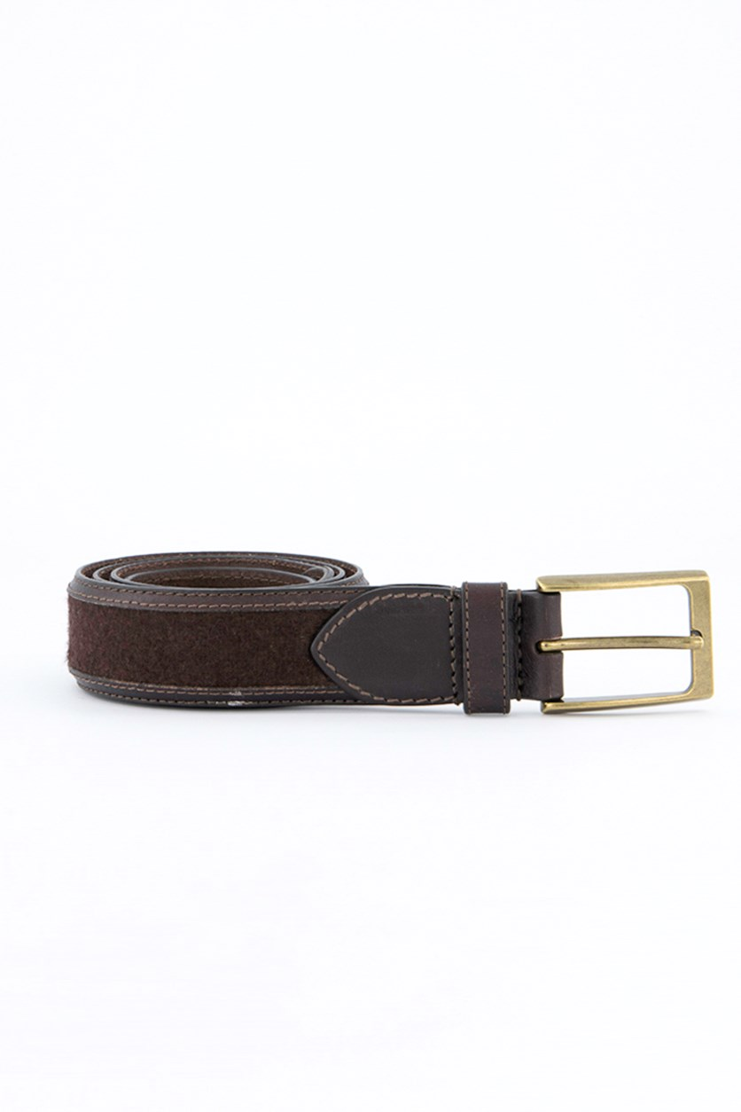 Men's Genuine Leather Belt, Brown/Gold