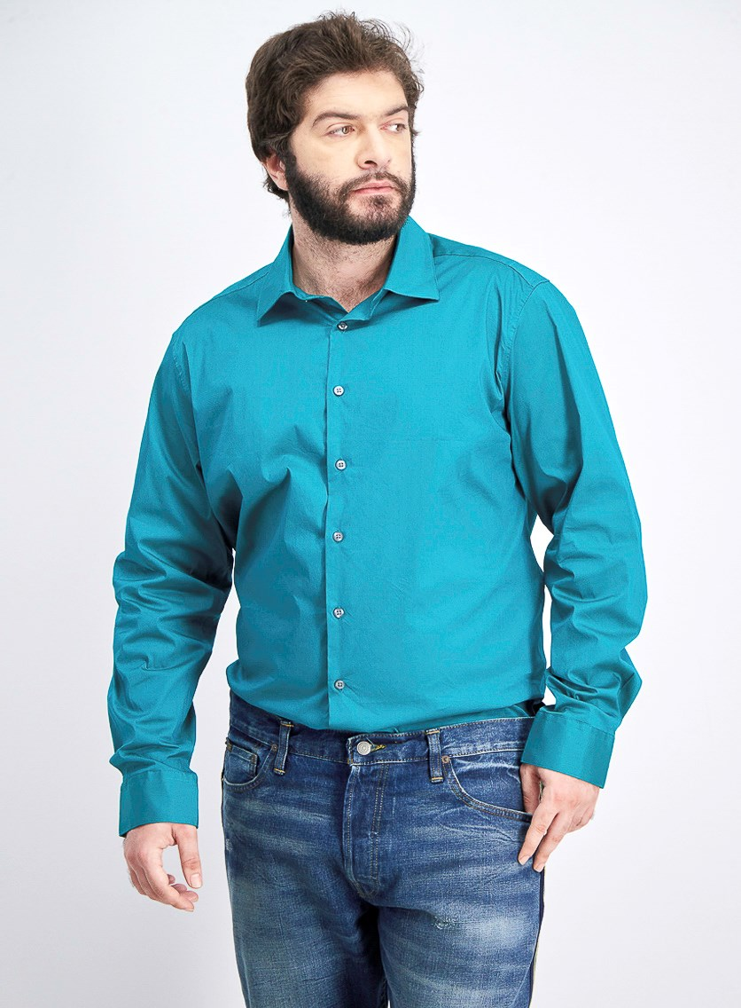 Men's Slim-Fit Stretch Performance Dress Shirt, Genuine Jade