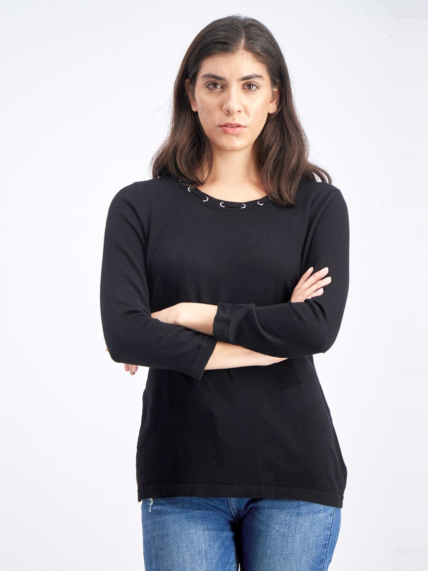 Women's Grommet-Trimmed Knit Top, Deep Black