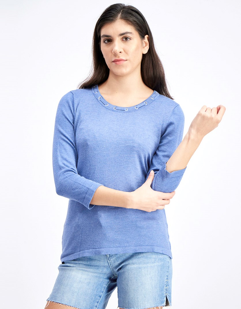 Women's Grommet-Trimmed Knit Sweater, Blue Denim Heather
