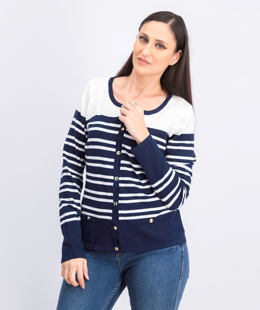 Women's Sweater Stripes, Navy Blue/White