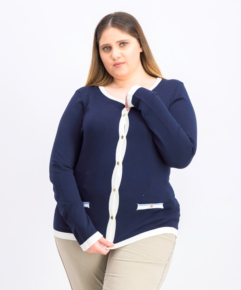 Women's Contrast-Trim Cardigan Sweater, Intrepid Blue