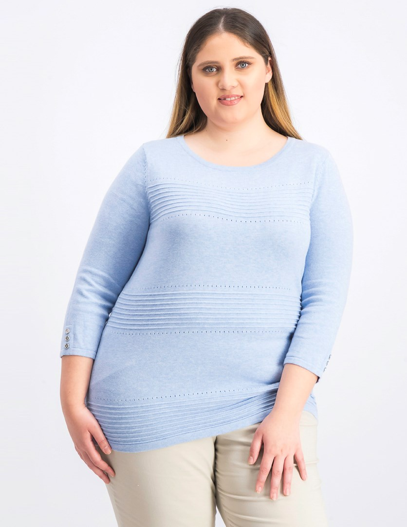 Women's Pointelle Sweater, Light Blue Heather