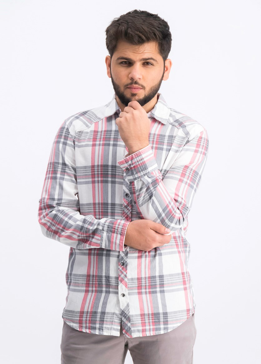 Men's Marc Plaid Shirt, White Pure Combo