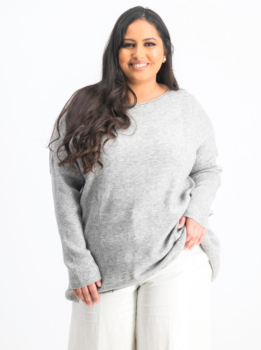 Women's Mixed-Rib Sweater, Bold Grey Heather