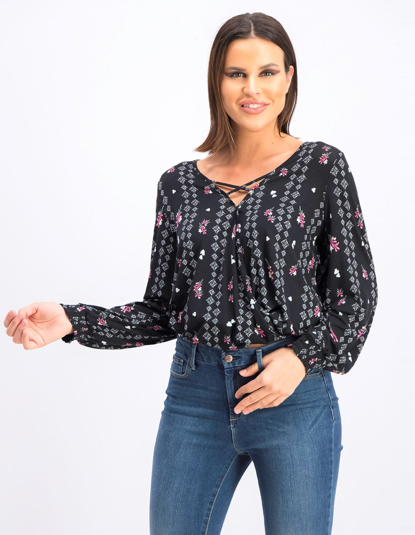 Womens Printed Smocked Pullover Top, Black Serene