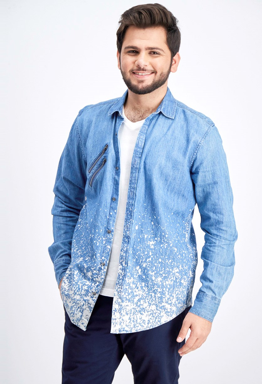 Men's Paint Splatter Denim Shirt, Medium Wash