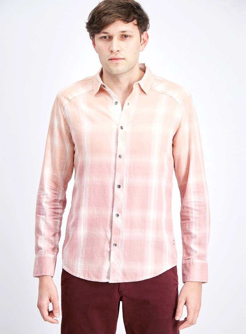 Men's Washed Plaid Shirt, Med Pink