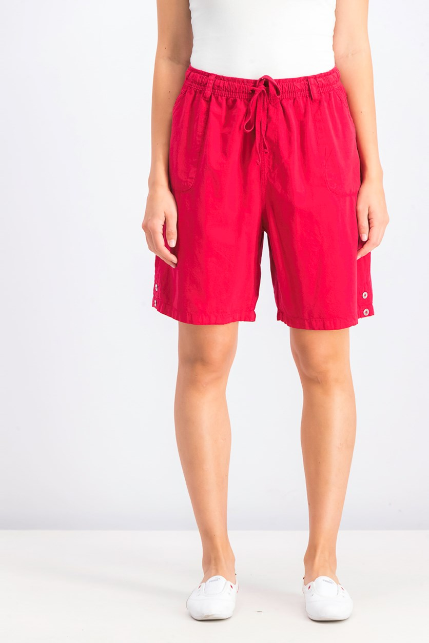 Womens Cotton Drawstring Shorts, New Red Amore