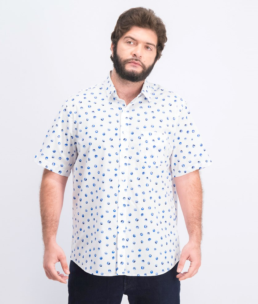 Men's Floral Graphic Shirt, Bright White