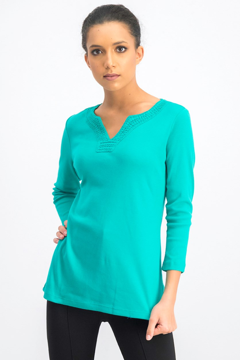 Women's Crochet-Trim Split-Neck Top, Classic Green