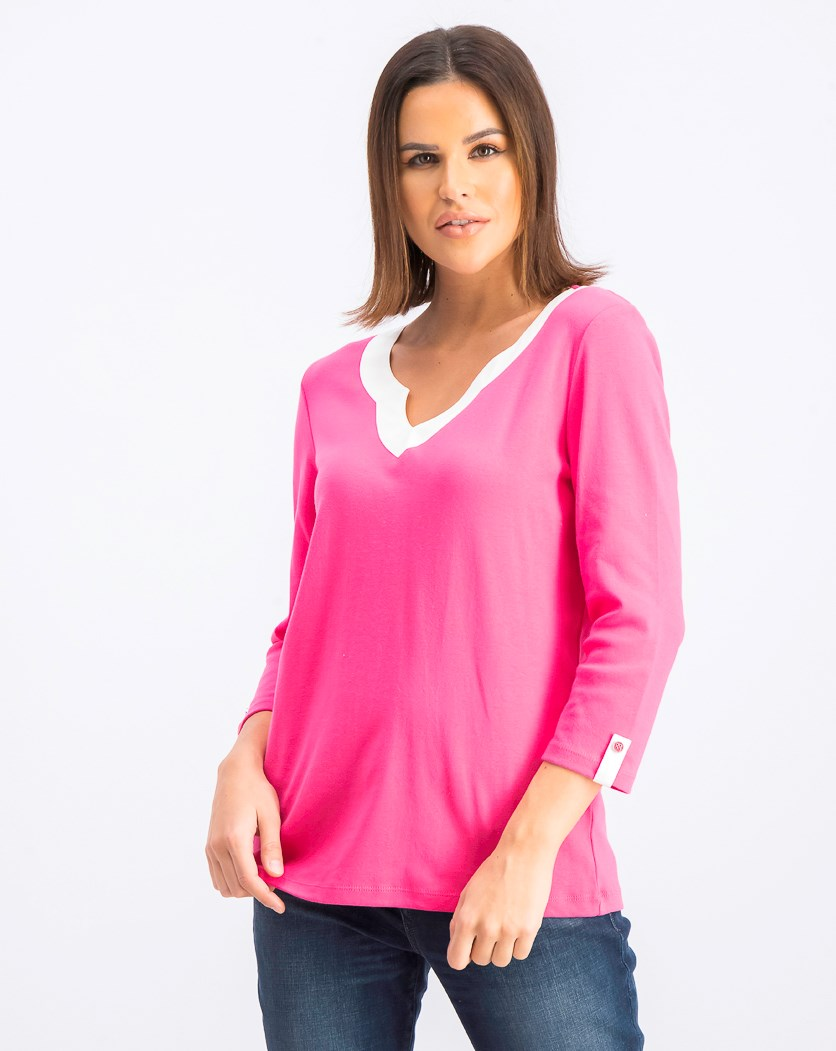 Women's Cotton Split-Neck Tab-Sleeve Top, Steel Rose