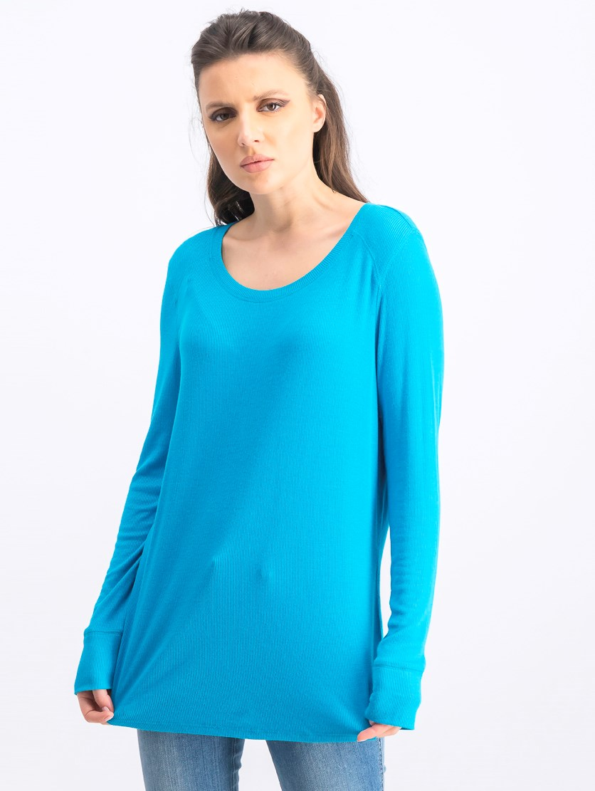 Women's Ribbed Jewel Neck Pullover Top, Caribbean Blue