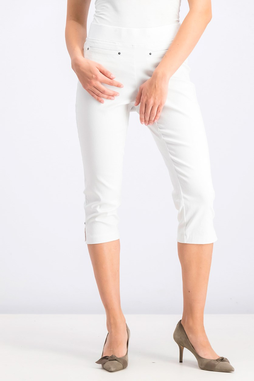 Womens Petite Pull-on Capri Pants, Bright White