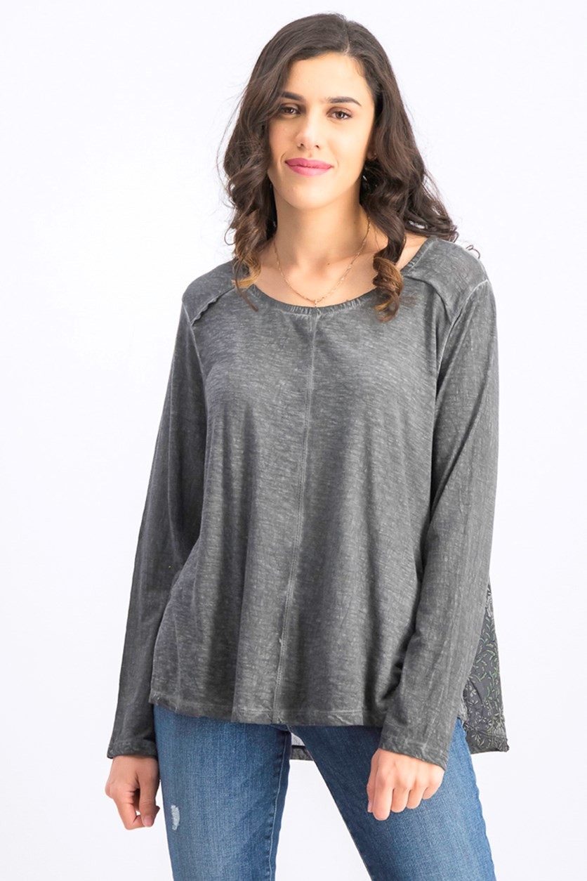 Womens Print-Back Scoop-Neck Top, Grey Vine Delight