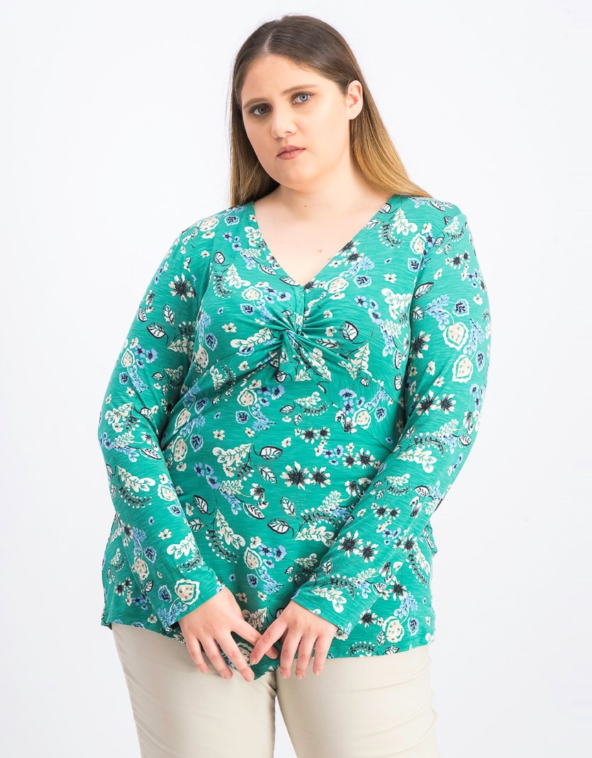 Womens Twist-Front Floral-Print Top, Floral Oasis
