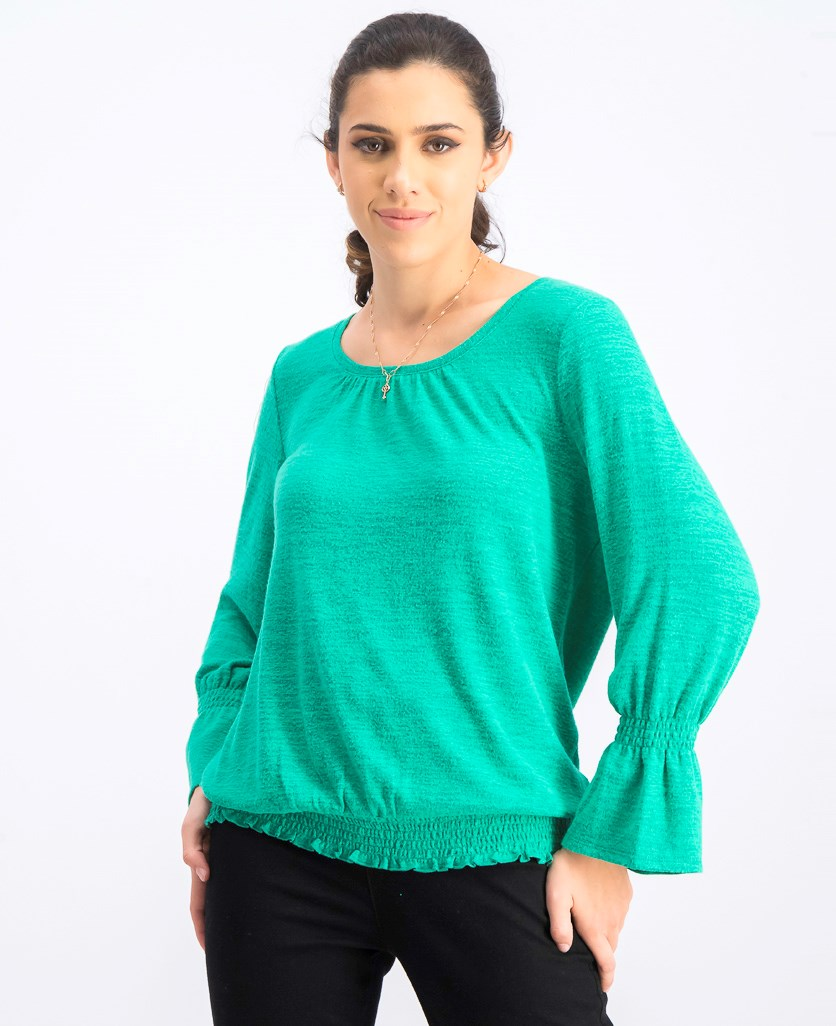 Womens Smocked-Hem Sweater Top, Peacock Green