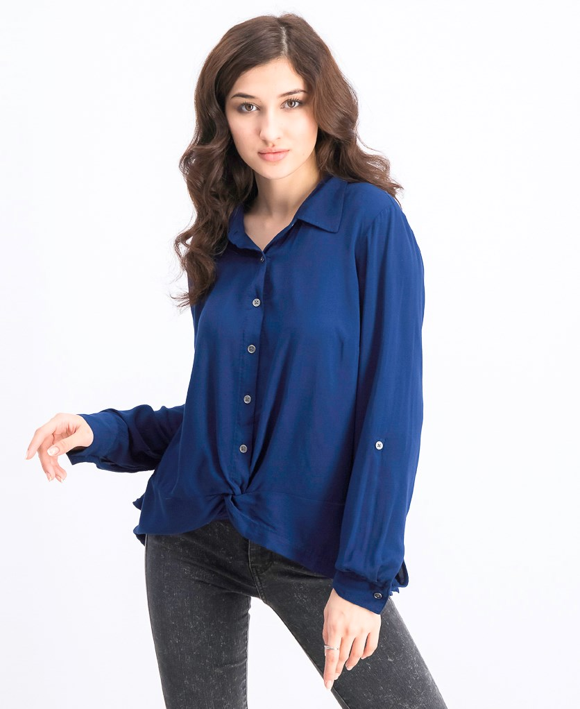 Women's Knot-Front Button-Up Top, Navy