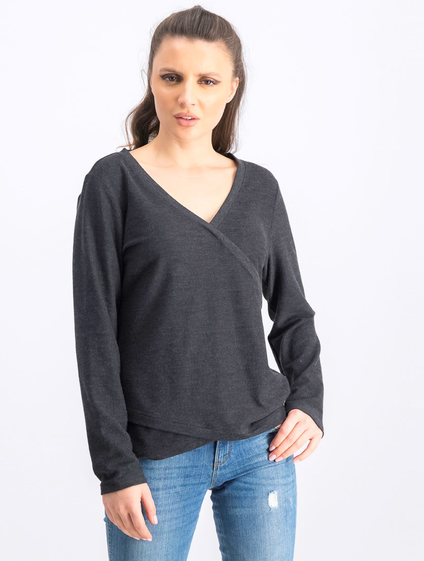 Women's Asymmetrical Sweater, Charcoal Heather