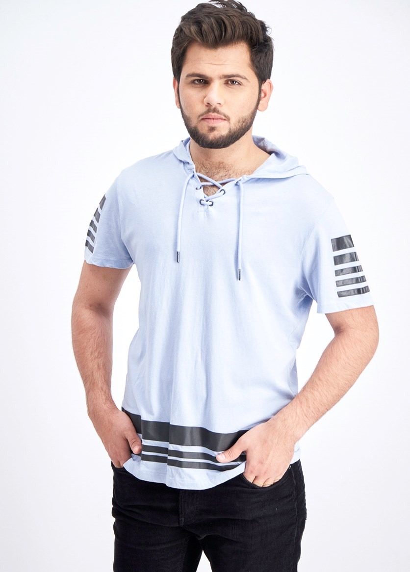 Men's Lace up Short-Sleeve Hoodie, Zen Blue