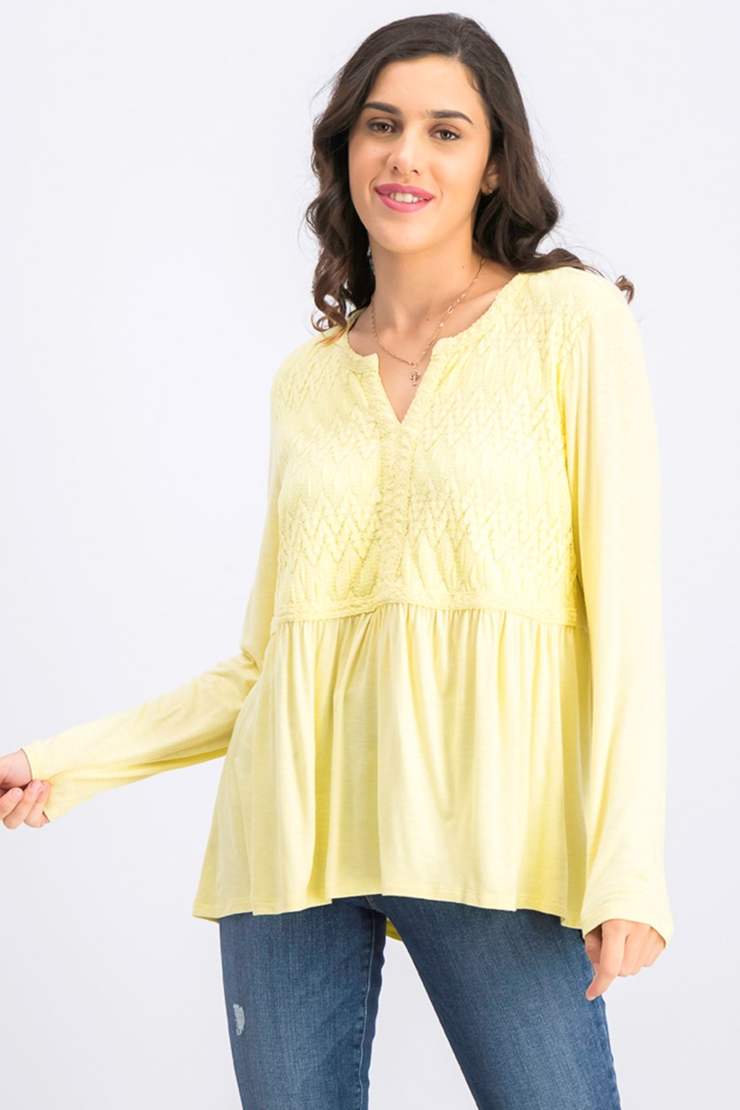 Womens Lace-Front Draped Top, Soft Sun